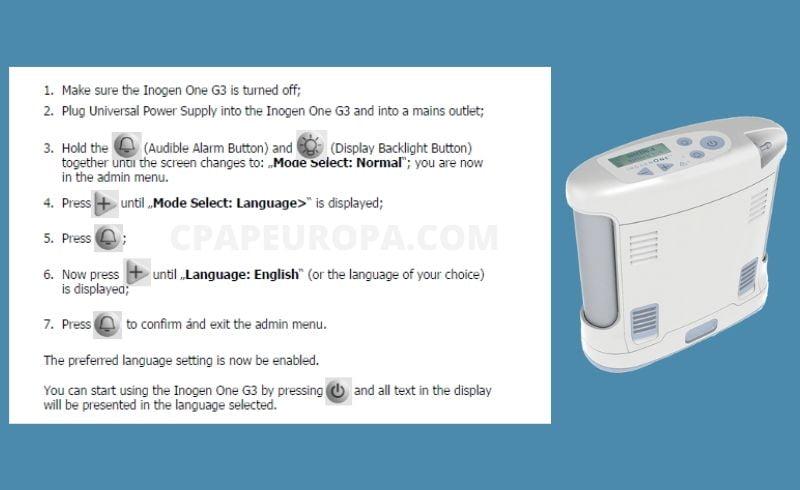 How to change inogen g3 language