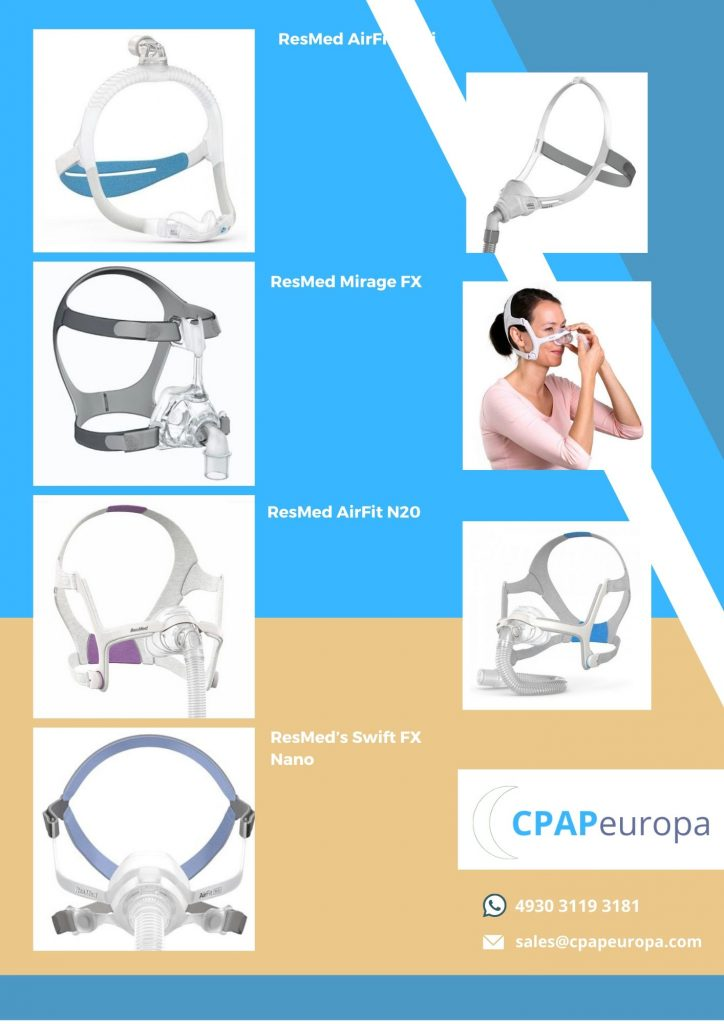 Nasal masks and woman who tries cpap nasal mask on her face