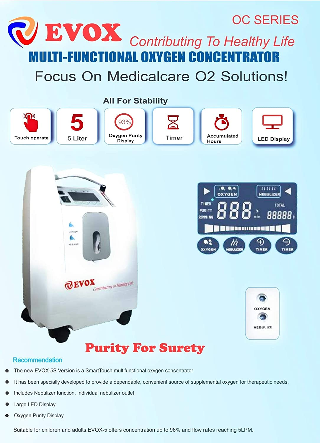 Evox oxygen concentrator review of features.